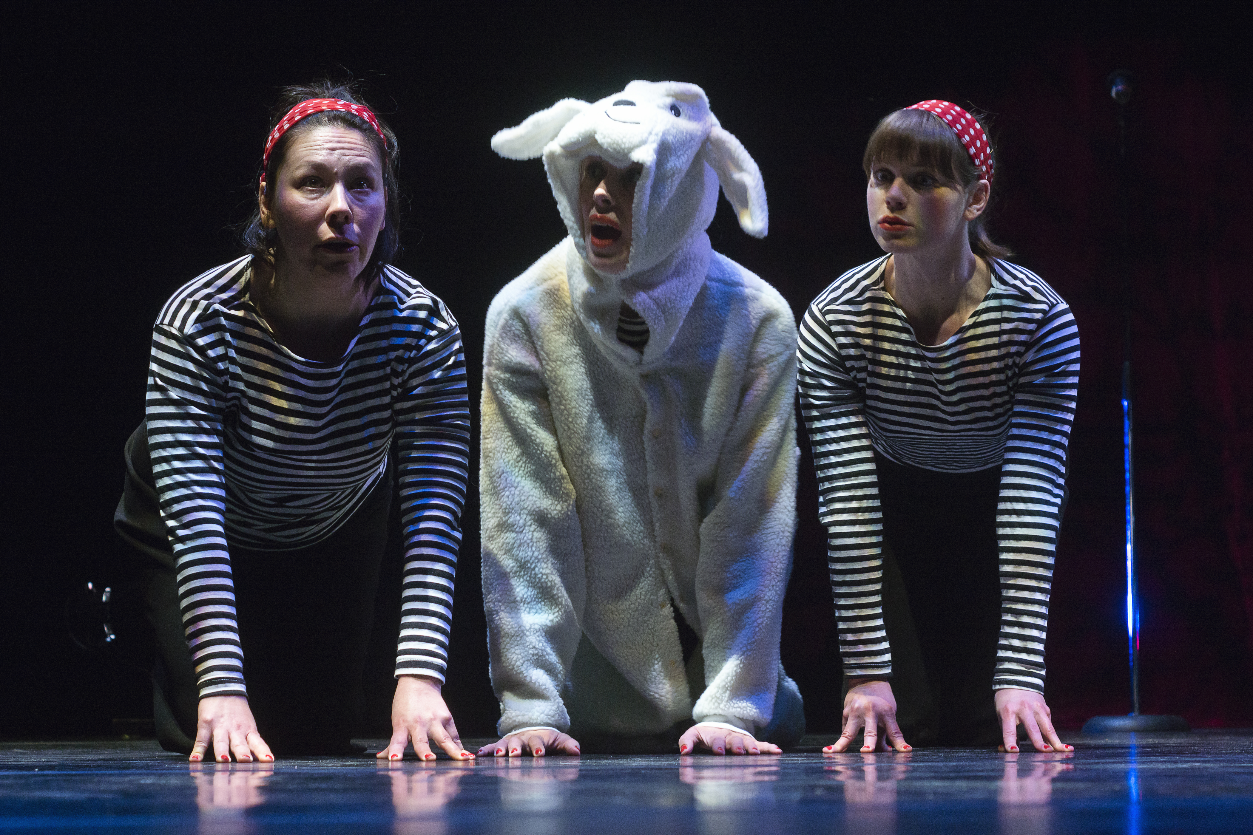 Cast and a sheep in the production of All The Little Animals I Have Eaten