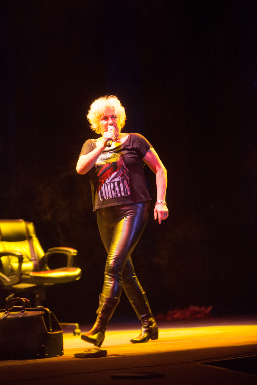 Cathy Jones on stage during Stranger To Hard Work Performance