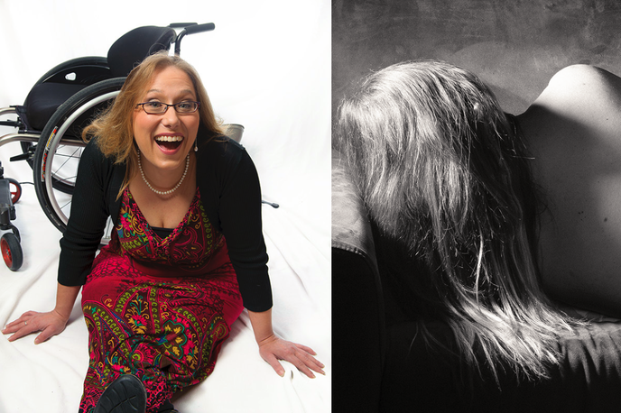 two images of the same woman.  The left image she is in a red dress smiling while sitting next to her wheelchair.  In the second image she is naked and just her bare back and long hair is visible while she is laying sideways.