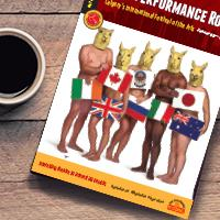 The guide for the High Performance Rodeo sitting on a wooden table next to a cup of coffee