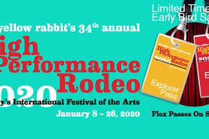 Two Badges hanging in front of a theatre stage curtain as the festival flex passes to the High Performance Rodeo on sale now.