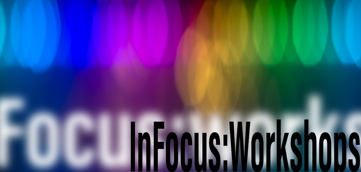 blurry rainbow of colors with the words In Focus Workshops